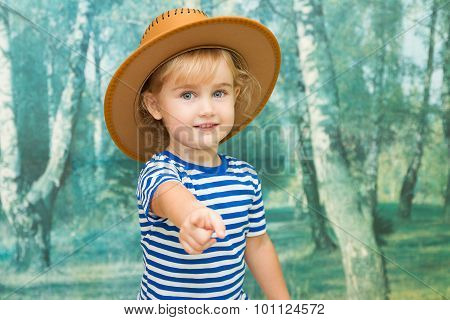 Little Girl Playing In Cowboy