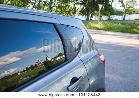 Iversky Monastery Is Reflected In A Side Window Of The Car