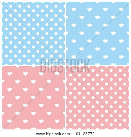 Pink and blue tile vector pattern set with white polka dots and hearts on pastel background