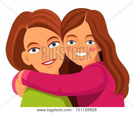 Mother daughter hugging and smiling