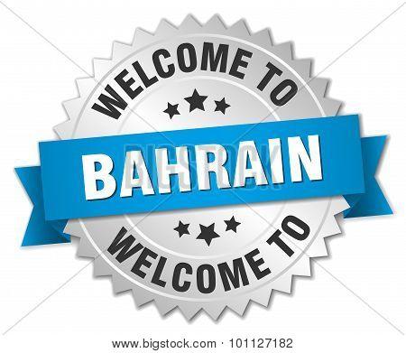 Bahrain 3D Silver Badge With Blue Ribbon