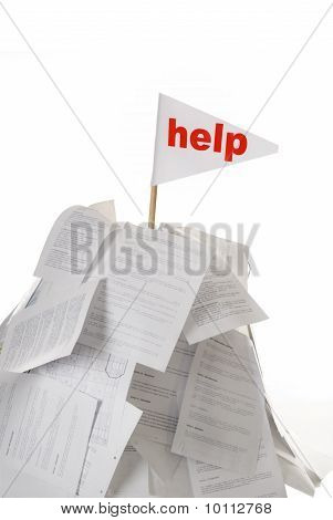 Help Flag Sticking Out Of Montain Of Papers