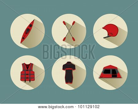 Rafting set icons with shadows in red color