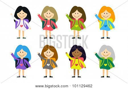 Cute vector cartoon girls from different countries playing on white. School uniform, university building, education, school kids, teens. Welcome to school. Back to school background.