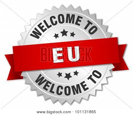 Eu 3D Silver Badge With Red Ribbon