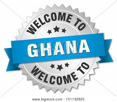 Ghana 3D Silver Badge With Blue Ribbon