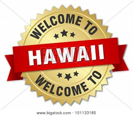 Hawaii 3D Gold Badge With Red Ribbon