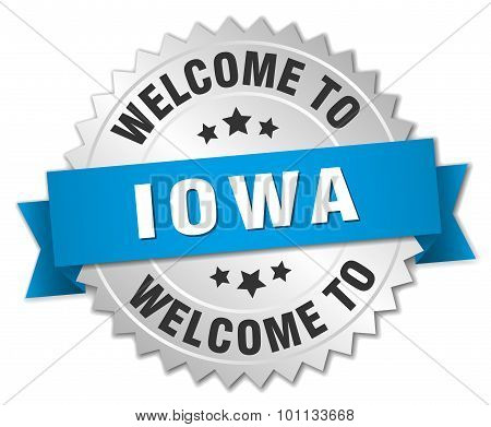Iowa 3D Silver Badge With Blue Ribbon