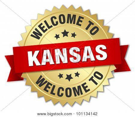 Kansas 3D Gold Badge With Red Ribbon