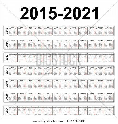Vector calendars. 2015 2016 2017 2018 2019 2020 2021 years