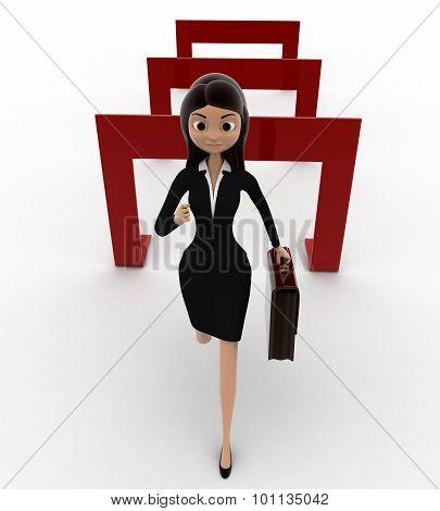 3D Woman Crossing Hurdles Concept