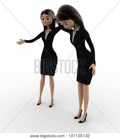 3D Woman Declaring Winner Concept