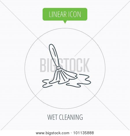 Wet cleaning icon. Clean-up floor tool sign.