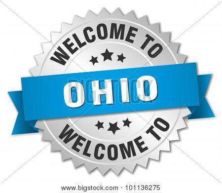 Ohio 3D Silver Badge With Blue Ribbon