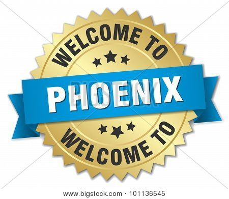 Phoenix 3D Gold Badge With Blue Ribbon