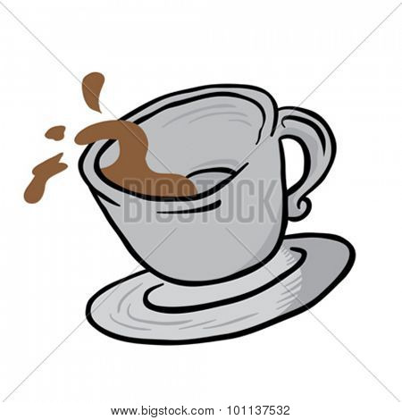 coffee cup spill cartoon illustration