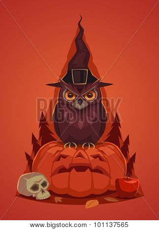 Happy Halloween card,  background, poster. Vector illustration.