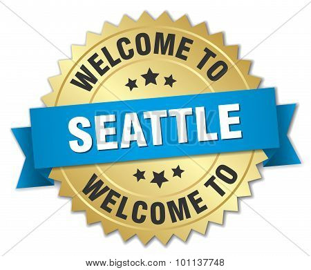 Seattle 3D Gold Badge With Blue Ribbon