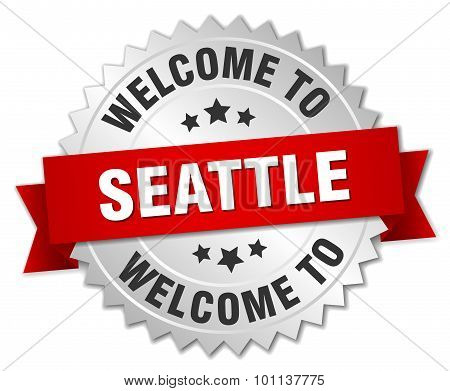 Seattle 3D Silver Badge With Red Ribbon