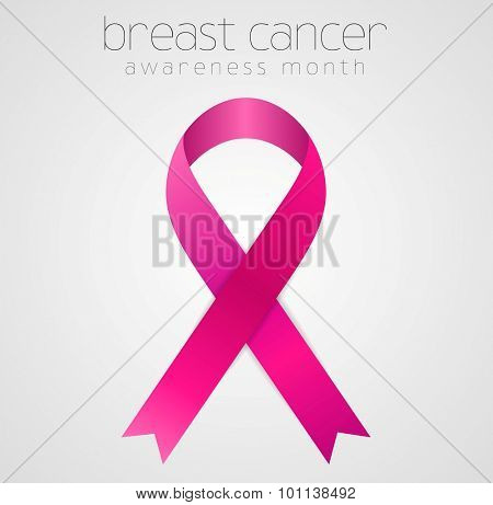 Breast cancer awareness pink ribbon tape design. Vector background