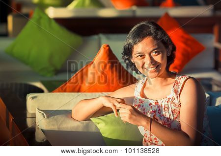 Happy Married Asian Woman Smiling