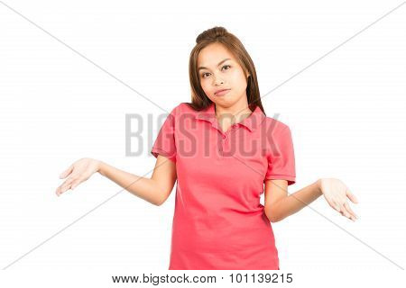 Resignation Asian Woman Shrugging Shoulders At