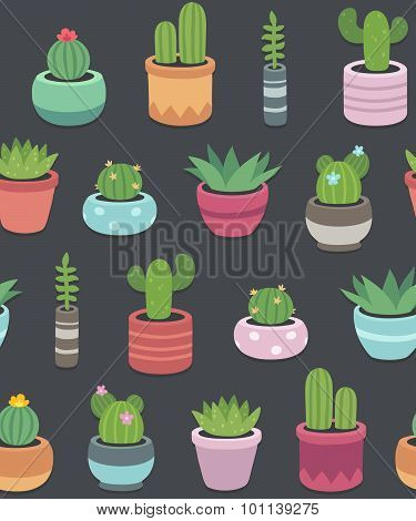 Cactus And Succulent Plants Seamless Pattern