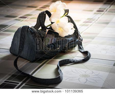 Jeans Handbag On The Mattress