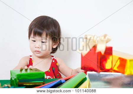Adorable Little Girl With Present