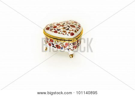 Ceramic Casket With A Pattern On A White Background