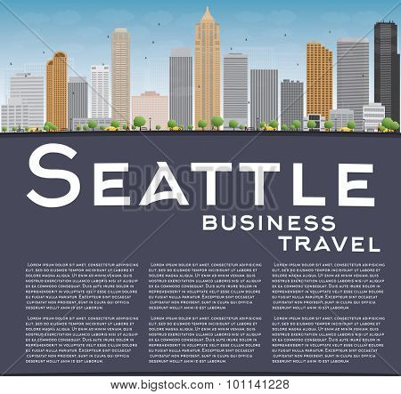 Seattle City Skyline with Grey Buildings, Blue Sky and copy space. Business travel concept. Vector Illustration