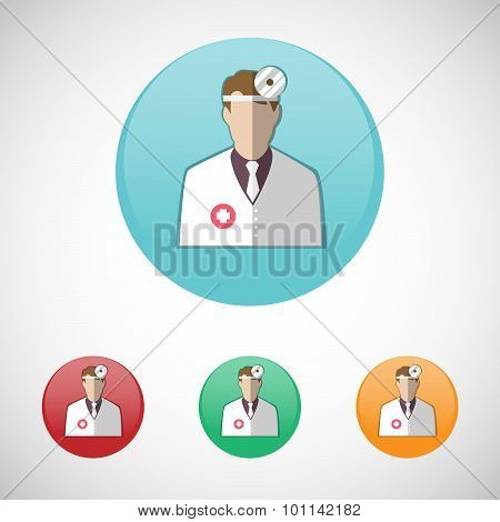 Otolaryngologist. Doctor In White Coat With Frontal Reflector.