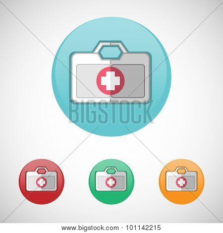 Vector First Aid Kit Vector Icon Set.
