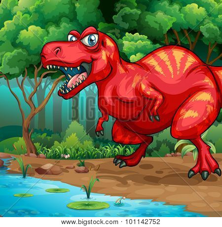 T-Rex walking in the jungle illustration