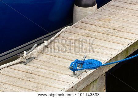 Yachting, Blue Rope And Mooring Bollard