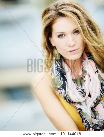Portrait of beautiful smiling woman, fashion model