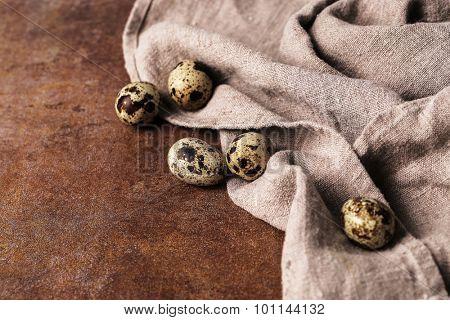 Quail eggs on the table