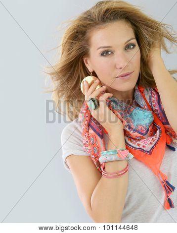 Portrait of beautiful fashion woman model, isolated