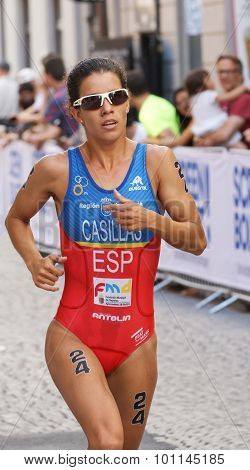 Triathlete Miriam Casillas Garcia Running, Close-up
