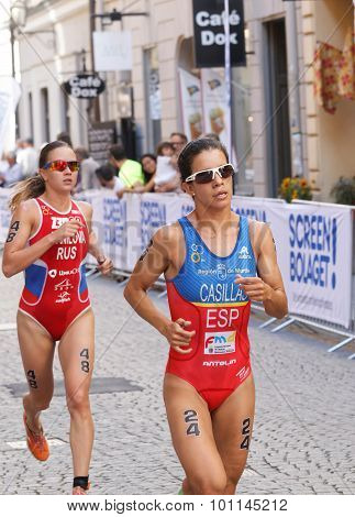 Triathlete Miriam Casillas Garcia Running, Followed By Elena Danilova