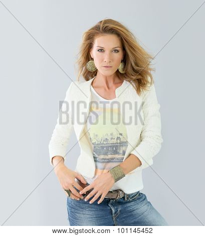 Trendy fashion woman, grey background
