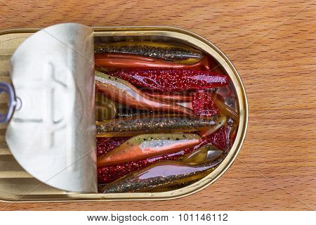 Swimbait Different Colors In Open Can