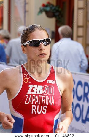 Close-up Of Triathlete Valentina Zapatrina Running