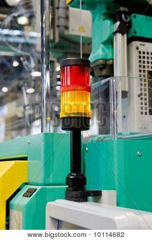 Warning light on a processing machine
