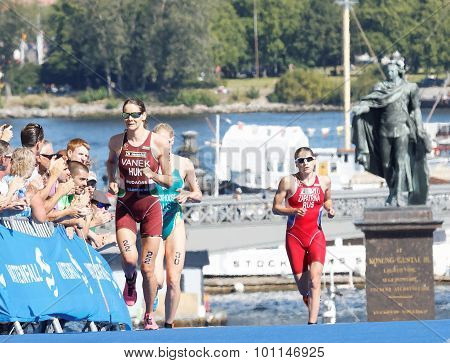 Triathlete Margit Vanek And Comptitors  Running