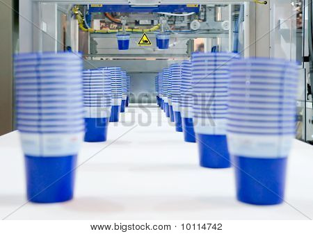 Mass production of plastic cups