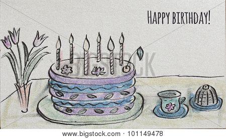Congratulatory Big Cake With Candles