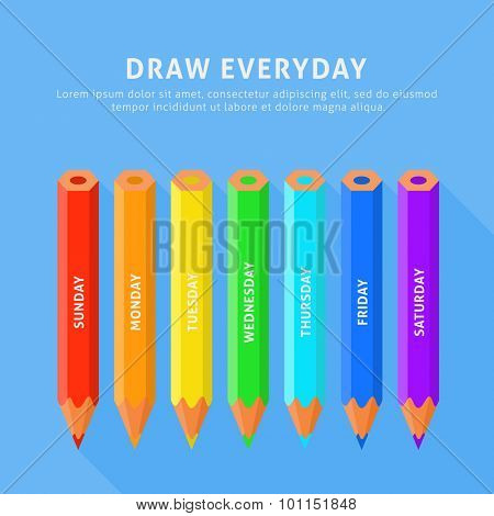 Vector illustration of seven color pencils for everyday. Flat style on a blue background