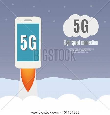 5G Template With Smartphone Flying.