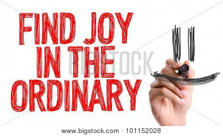 Hand with marker writing the word Find Joy In The Ordinary